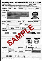 Sample IELTS Test Report Form